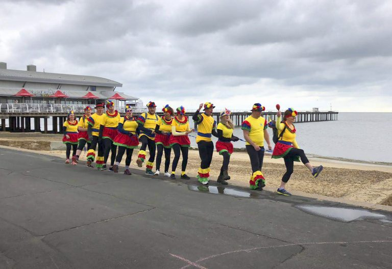 The conga team at the start. Heading off under grey skies
